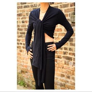 The most gorgeous cotton wrap top in black